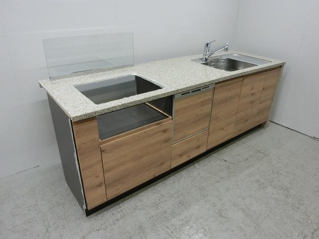 ◆展示品/タカラスタンダード/対面型システムキッチン/木目調/食洗器付/石天板/高級◆_画像1