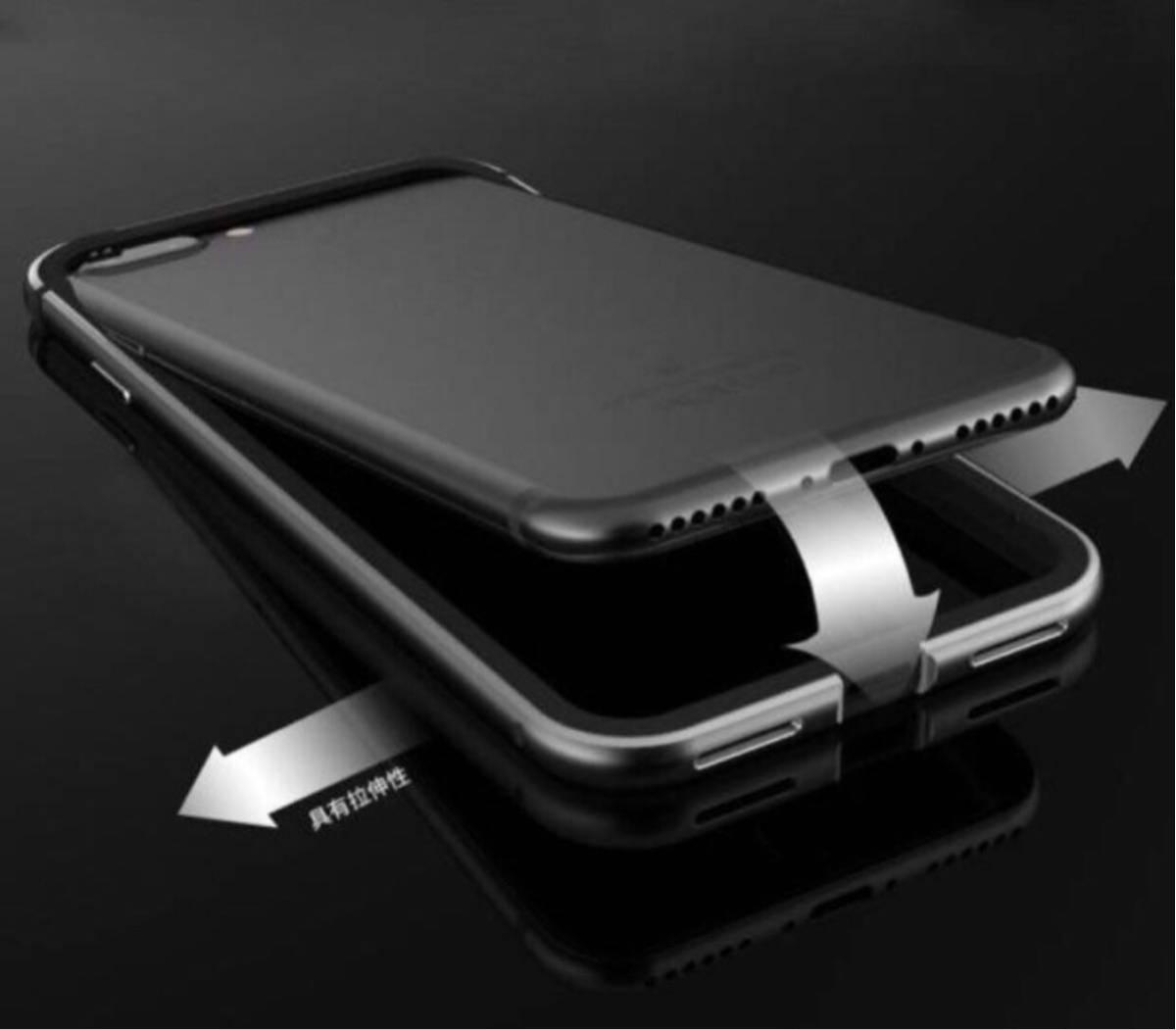 超人気 黒iPhoneX 7/7plus 8/8plus ケース 機種選択 人気1位 オススメ こだわり素材アルミ合金 シリコン 二重保護 超安心ケース_画像2