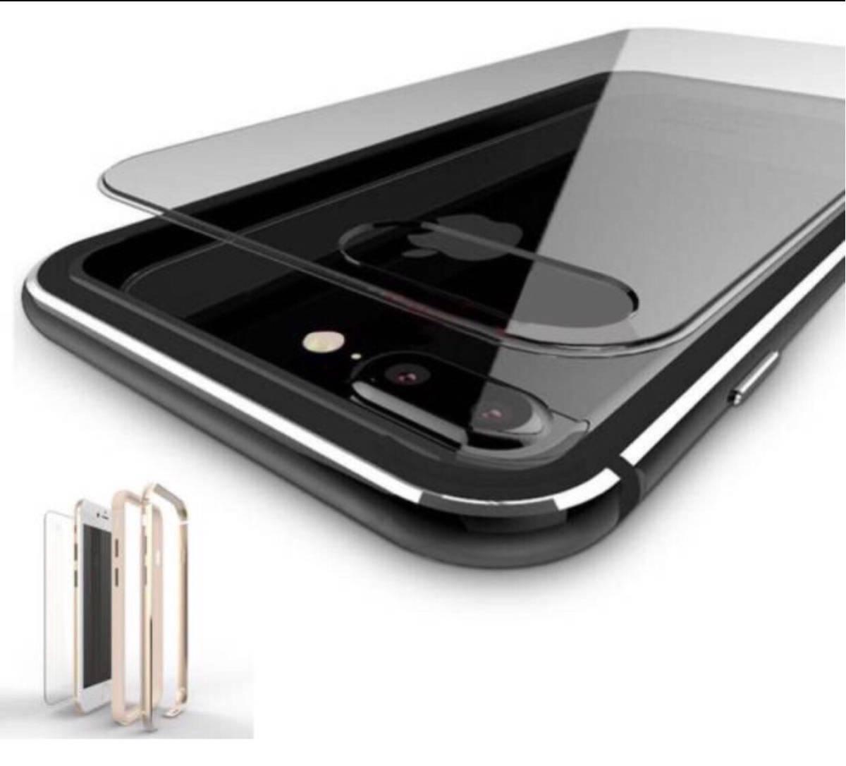 超人気 黒iPhoneX 7/7plus 8/8plus ケース 機種選択 人気1位 オススメ こだわり素材アルミ合金 シリコン 二重保護 超安心ケース_画像3