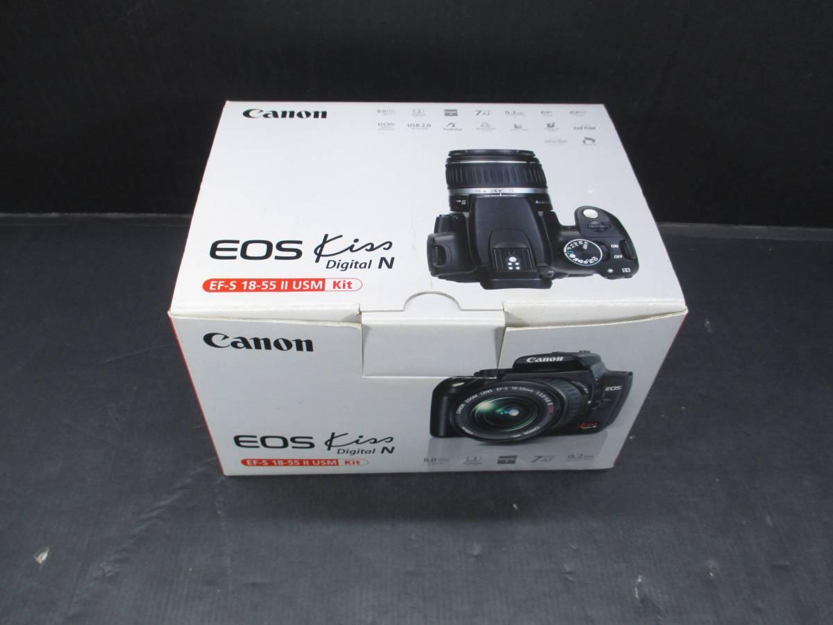送60サ[55]Canon EOS Kiss Digital N EF-S 18-55 IS セット 動作OK 中古品 バッテリー劣化有