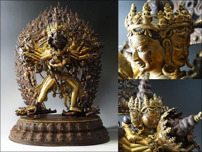 L19◇西蔵金銅千手歓喜仏 鍍金千手歓喜仏像 高さ42.7cm チベット密教 中国古玩 仏教美術