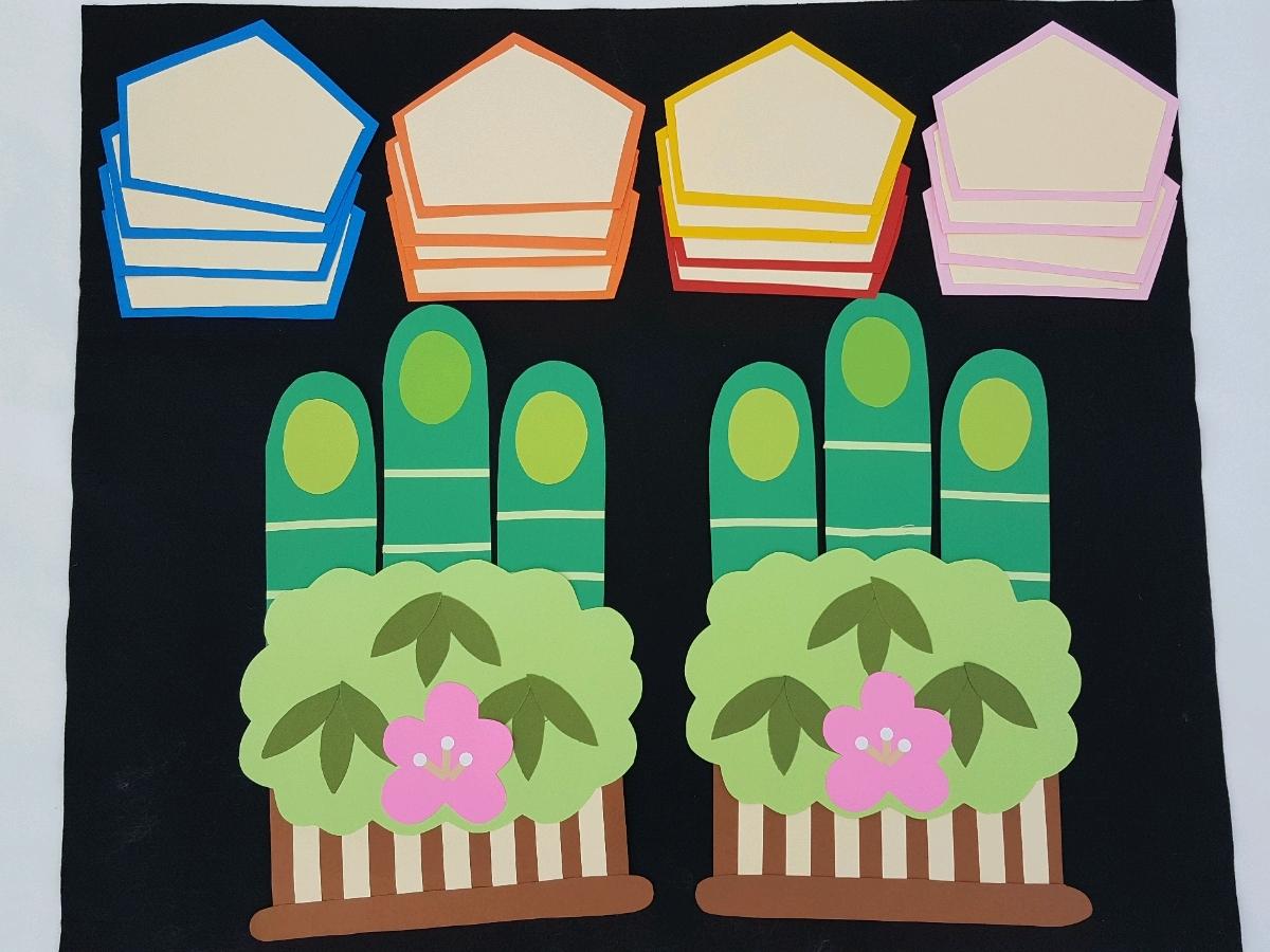 【壁面の森】保育幼稚園☆1月お正月☆冬☆大きい☆門松☆絵馬☆子ども制作