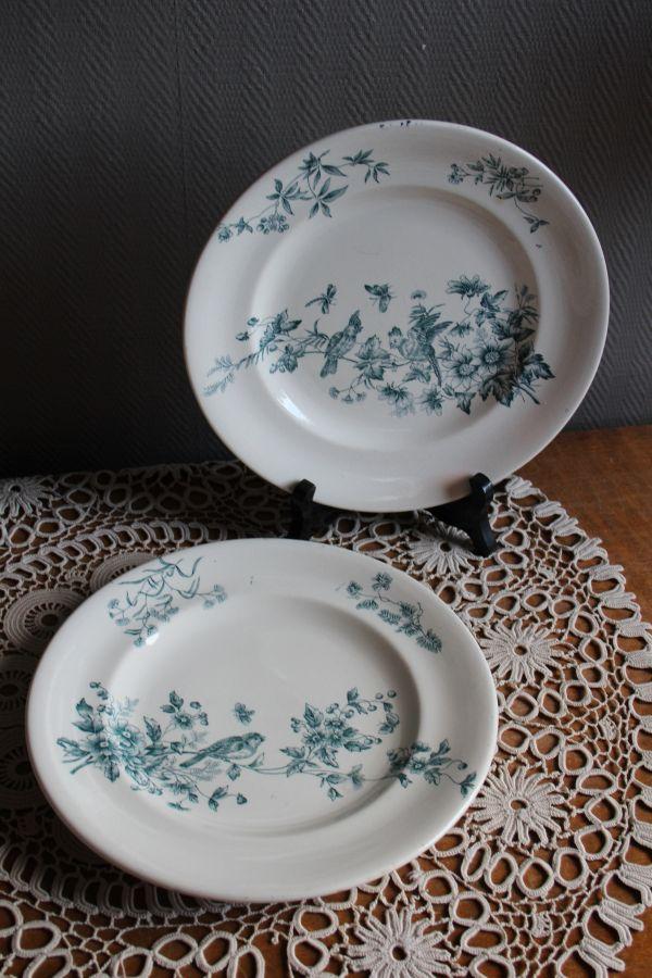 フランス アンティーク LONGWY ロンウィ MIGNON 小鳥の絵柄のお皿 2枚セット