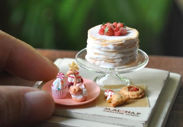 *ベリー クレープケーキ セット スワンシュー パイ カップケーキ クリスマス ハンドメイド ドールハウス ミニチュア 食品サンプル *_画像2