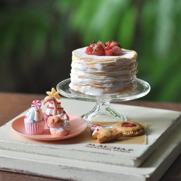*ベリー クレープケーキ セット スワンシュー パイ カップケーキ クリスマス ハンドメイド ドールハウス ミニチュア 食品サンプル *