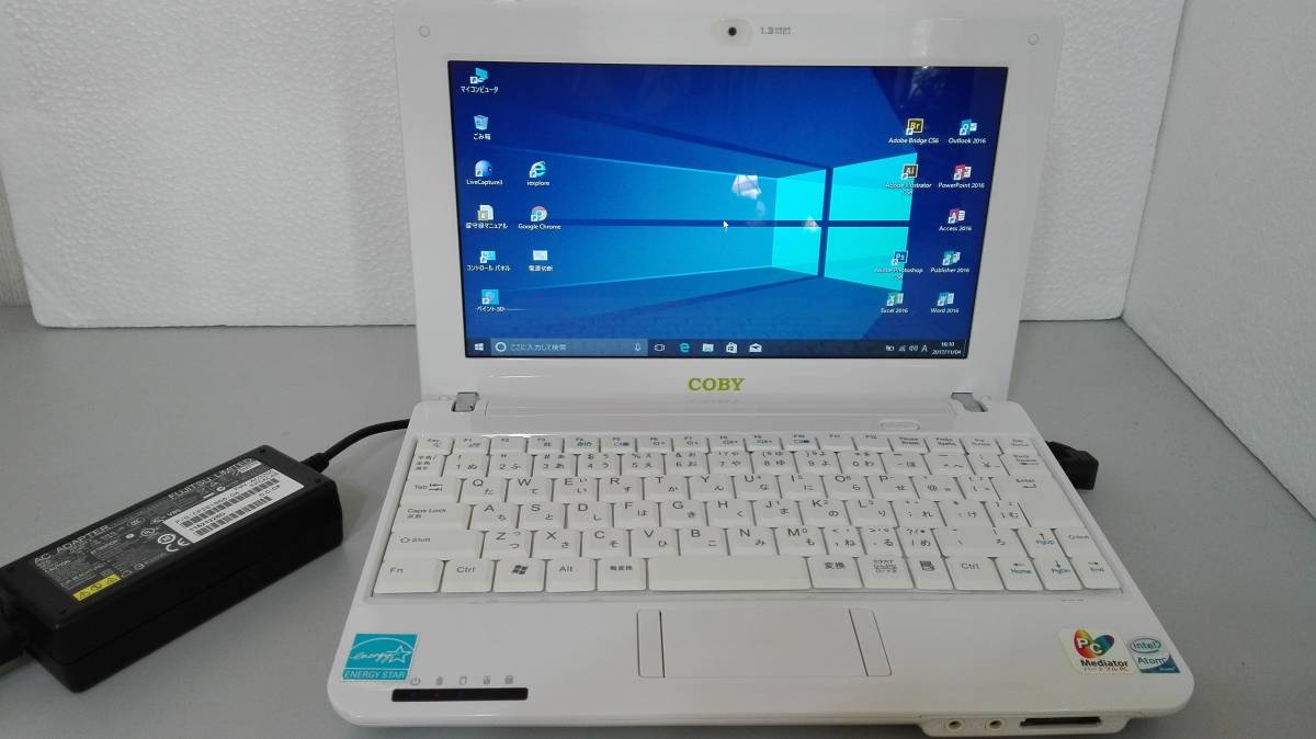 COBY NBPC1022 Intel Atom N270 @1.60GHz HD 100GB MEM 1GB Windows10pro Office2016pro イラストcs6 フォトショップcs6 美品