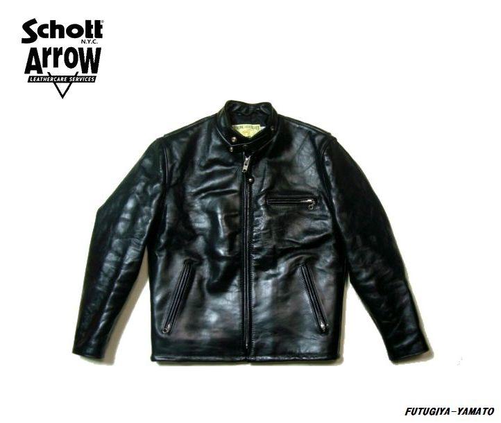送料無料 即決 schott ショット Arrow コラボ 641HH ホースレザー 馬革 キルティング仕様 シングルライダース ジャケット 40 ブラック 黒