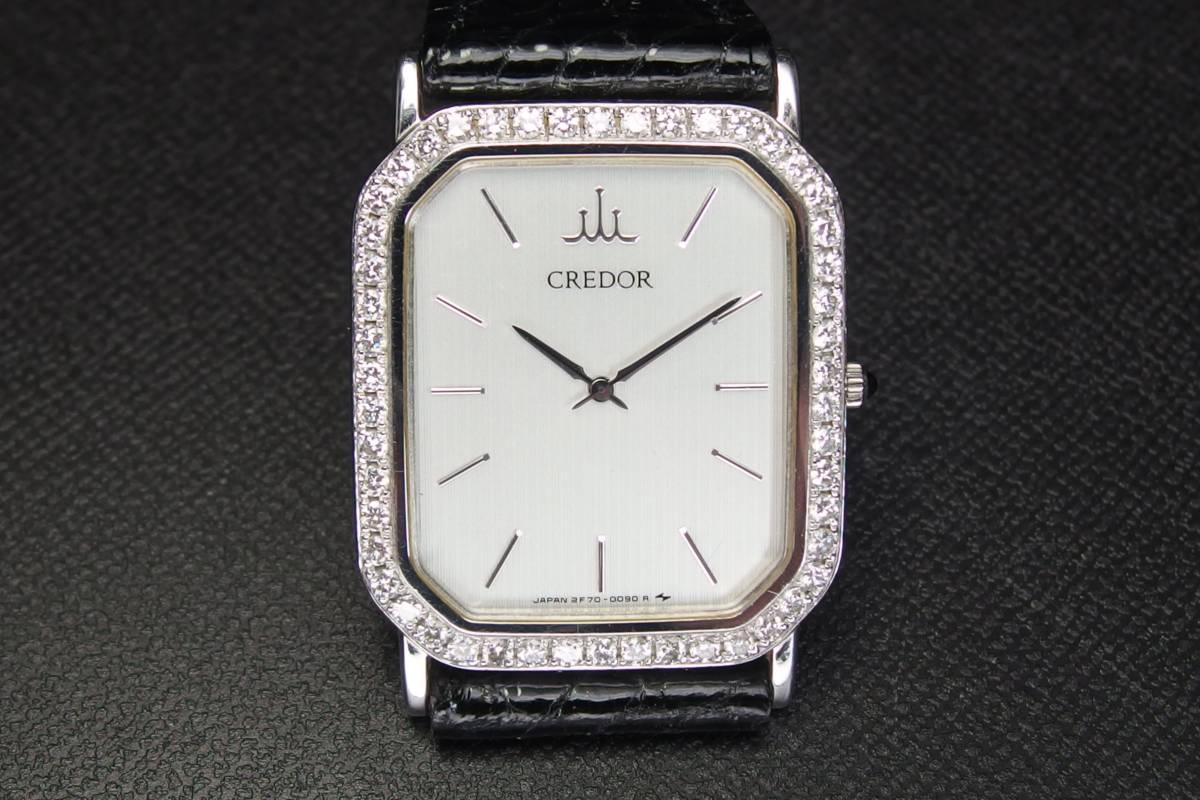 SEIKO  セイコー CREDOR クレドール プレステージ K18WG ダイヤべゼル 2F70-5060 金無垢 メンズ QZ 極上品