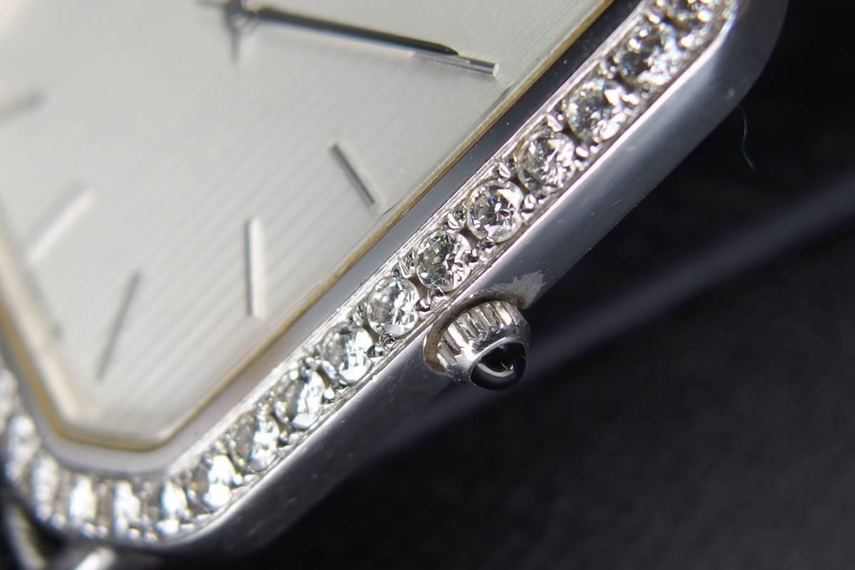 SEIKO  セイコー CREDOR クレドール プレステージ K18WG ダイヤべゼル 2F70-5060 金無垢 メンズ QZ 極上品_画像4