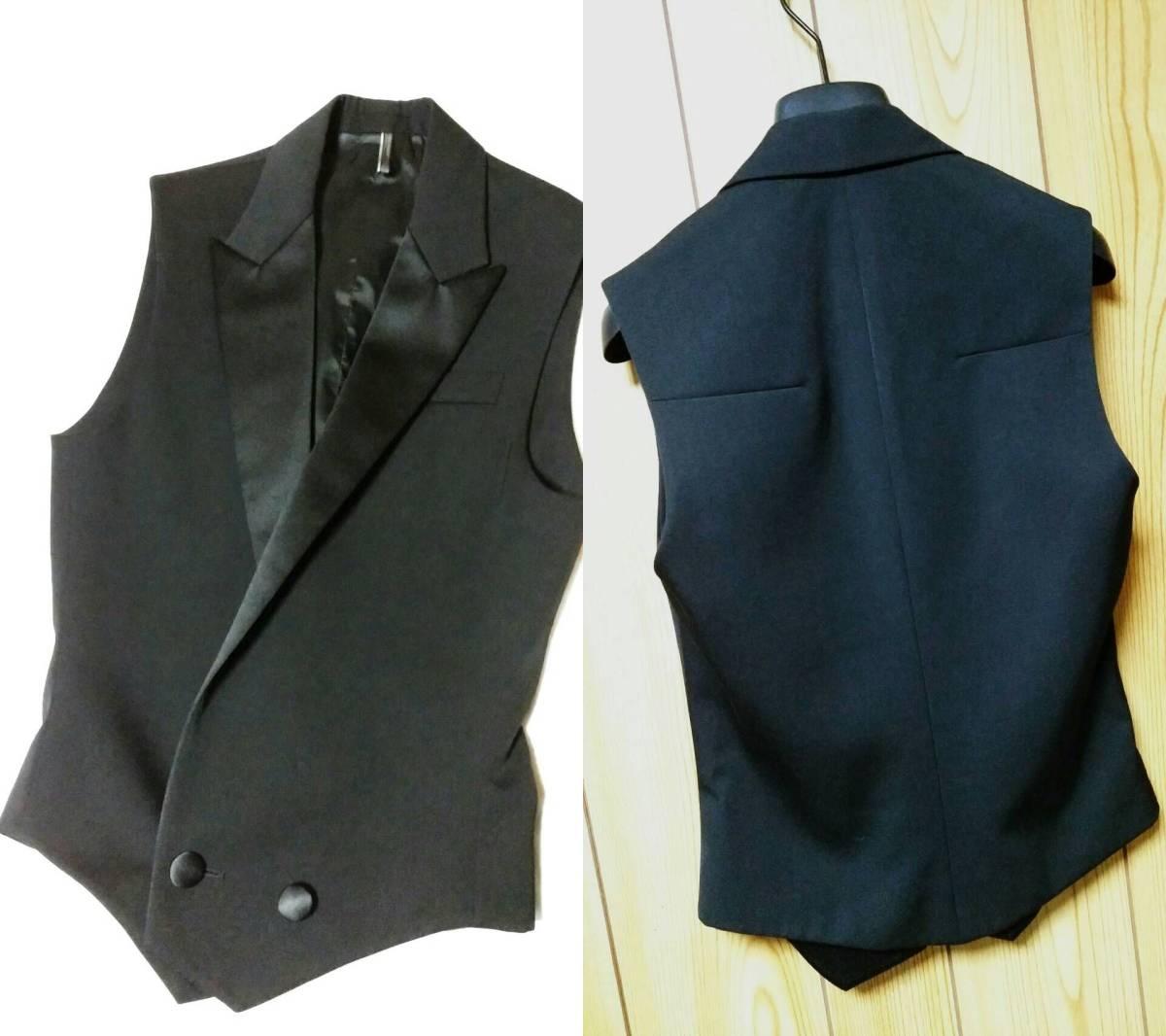 国内正規新古 Dior Hommeディオールオム スモーキングラペルジレ黒 ピークド光沢ラペルブラックベスト 最小38 XXS ジャケット以上の存在感!_画像6