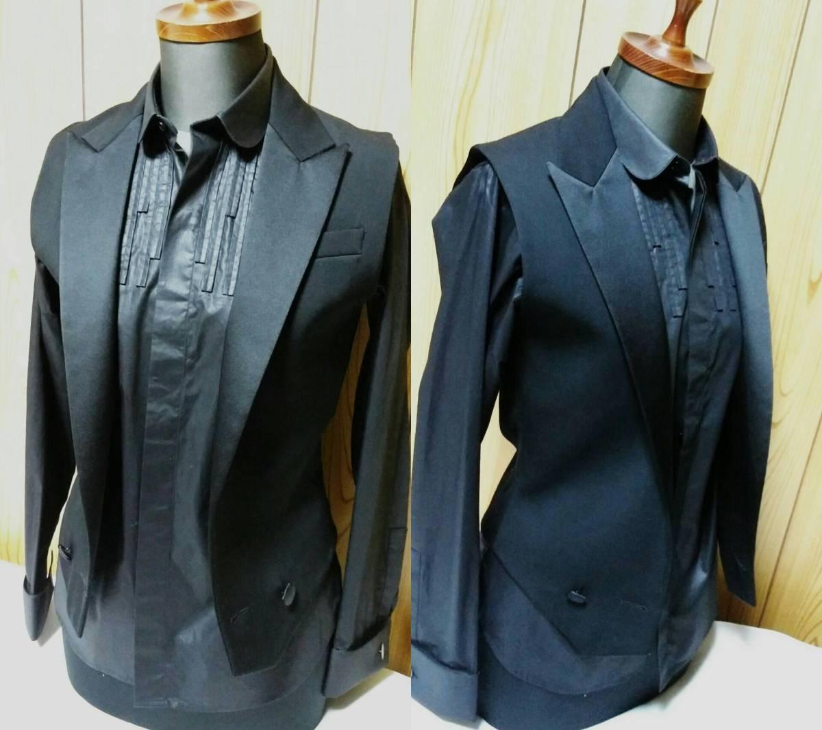国内正規新古 Dior Hommeディオールオム スモーキングラペルジレ黒 ピークド光沢ラペルブラックベスト 最小38 XXS ジャケット以上の存在感!_画像7