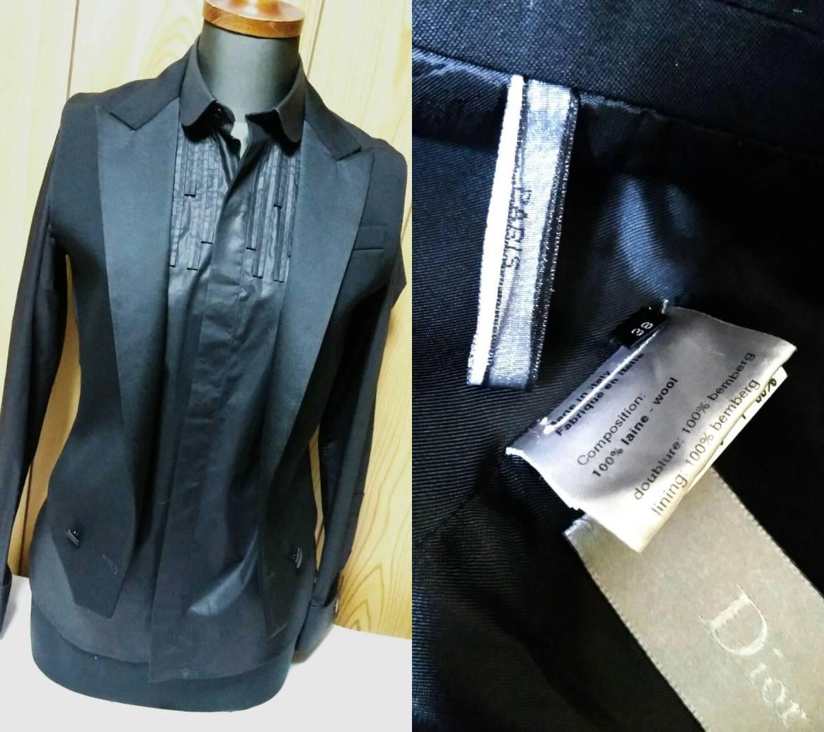 国内正規新古 Dior Hommeディオールオム スモーキングラペルジレ黒 ピークド光沢ラペルブラックベスト 最小38 XXS ジャケット以上の存在感!_画像8