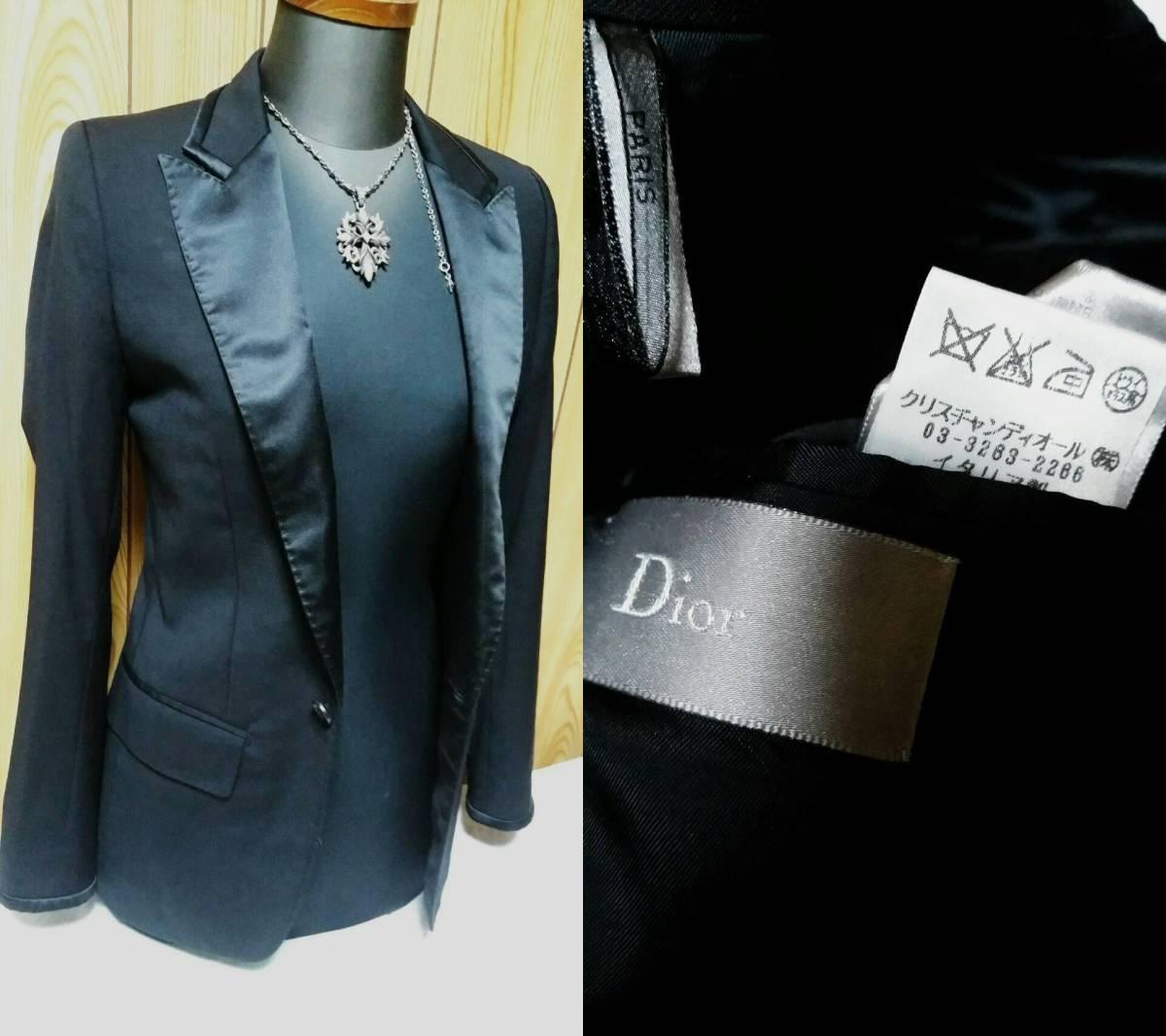国内正規 レア Dior Hommeディオールオム スモーキングジャケット黒 最小38 ブラック 光沢ラペル×ライン 1BテーラードJK 6H 男女兼用可★_画像8