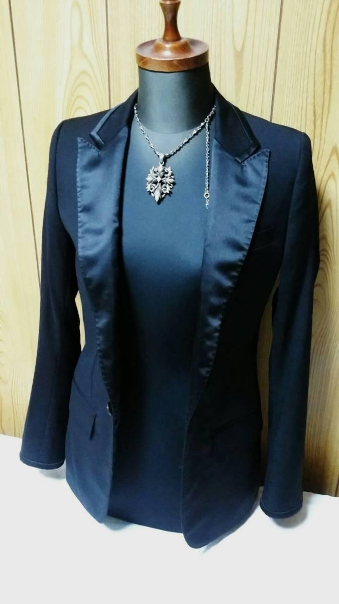 国内正規 レア Dior Hommeディオールオム スモーキングジャケット黒 最小38 ブラック 光沢ラペル×ライン 1BテーラードJK 6H 男女兼用可★_画像5
