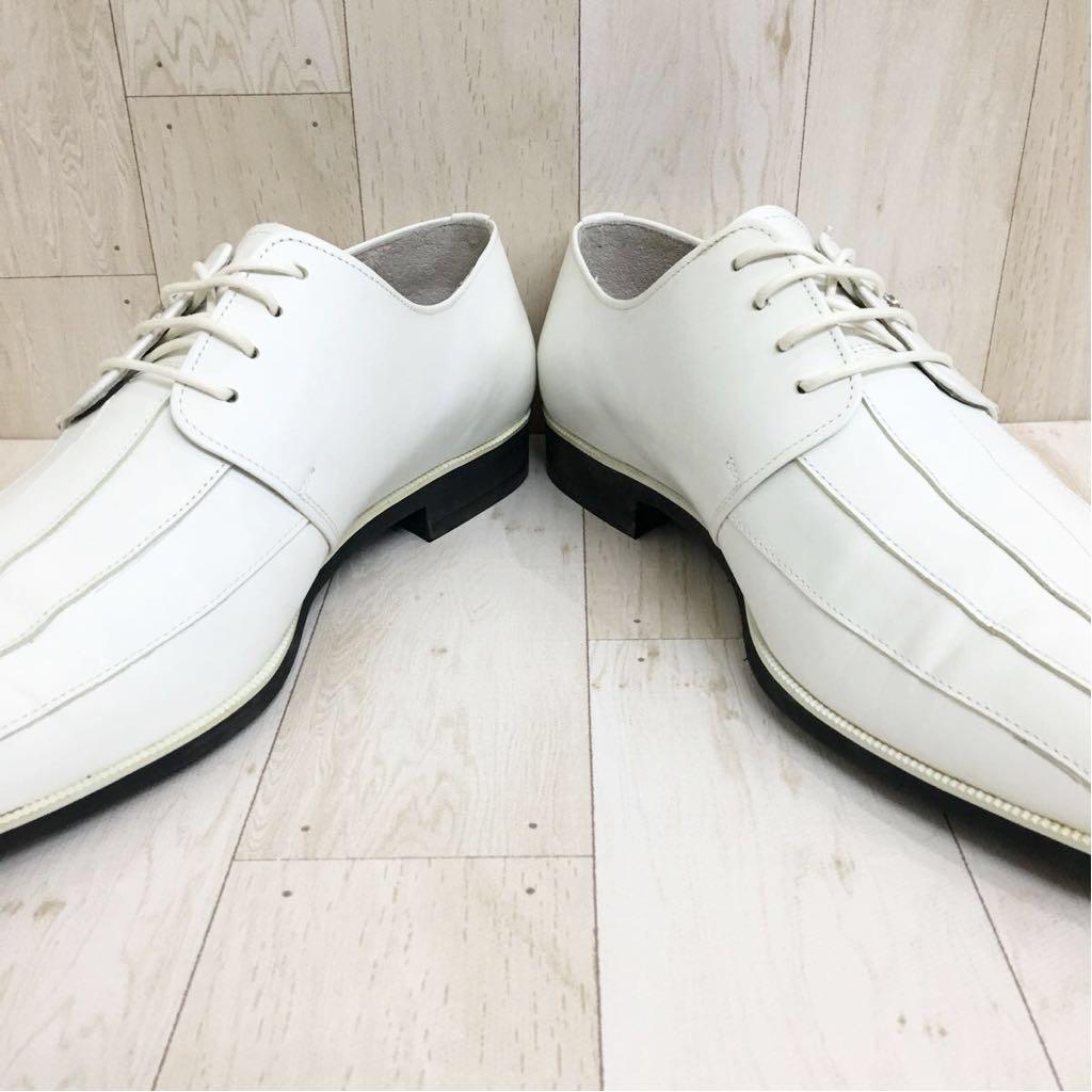 SETTE CANE セッテカーネ 高級 本革 レザー カジュアル シューズ 靴 紳士 メンズ サイズ8 26.0cm 白/ホワイト 検) ちょい悪_画像3