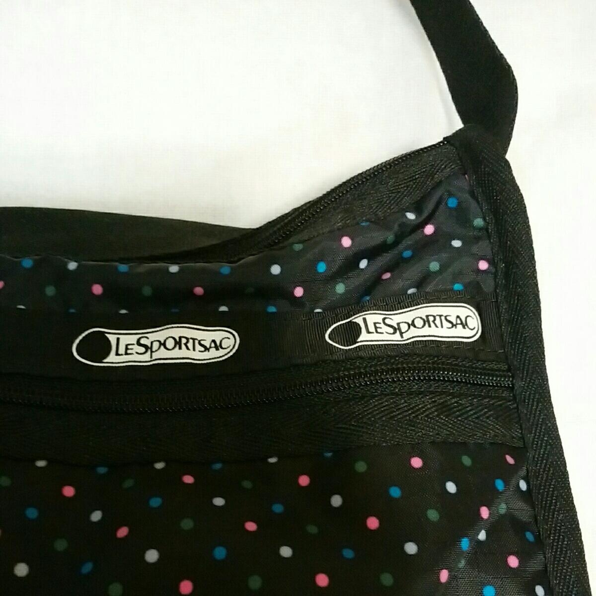 レスポートサック LeSportsac ショルダー バッグ 黒 ドット 水玉 レスポ_画像2