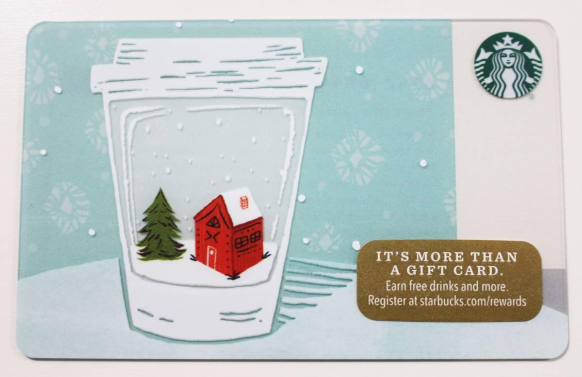 北米スターバックスカード2017ホリデー限定クリスマス スノーグローブ カップ アメリカUSA海外スタバカード クリスマスツリー 家 雪_画像1