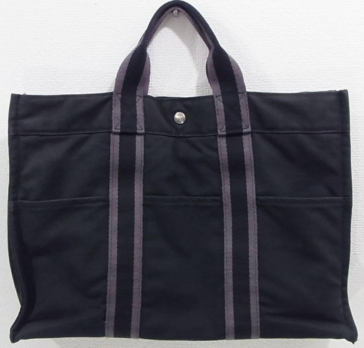 HERMES フールトゥMM 黒 キャンバストートバッグ ブラック×ダークグレー 2本ライン トートMM コットン手提げかばん ハンドバッグ エルメス_画像2