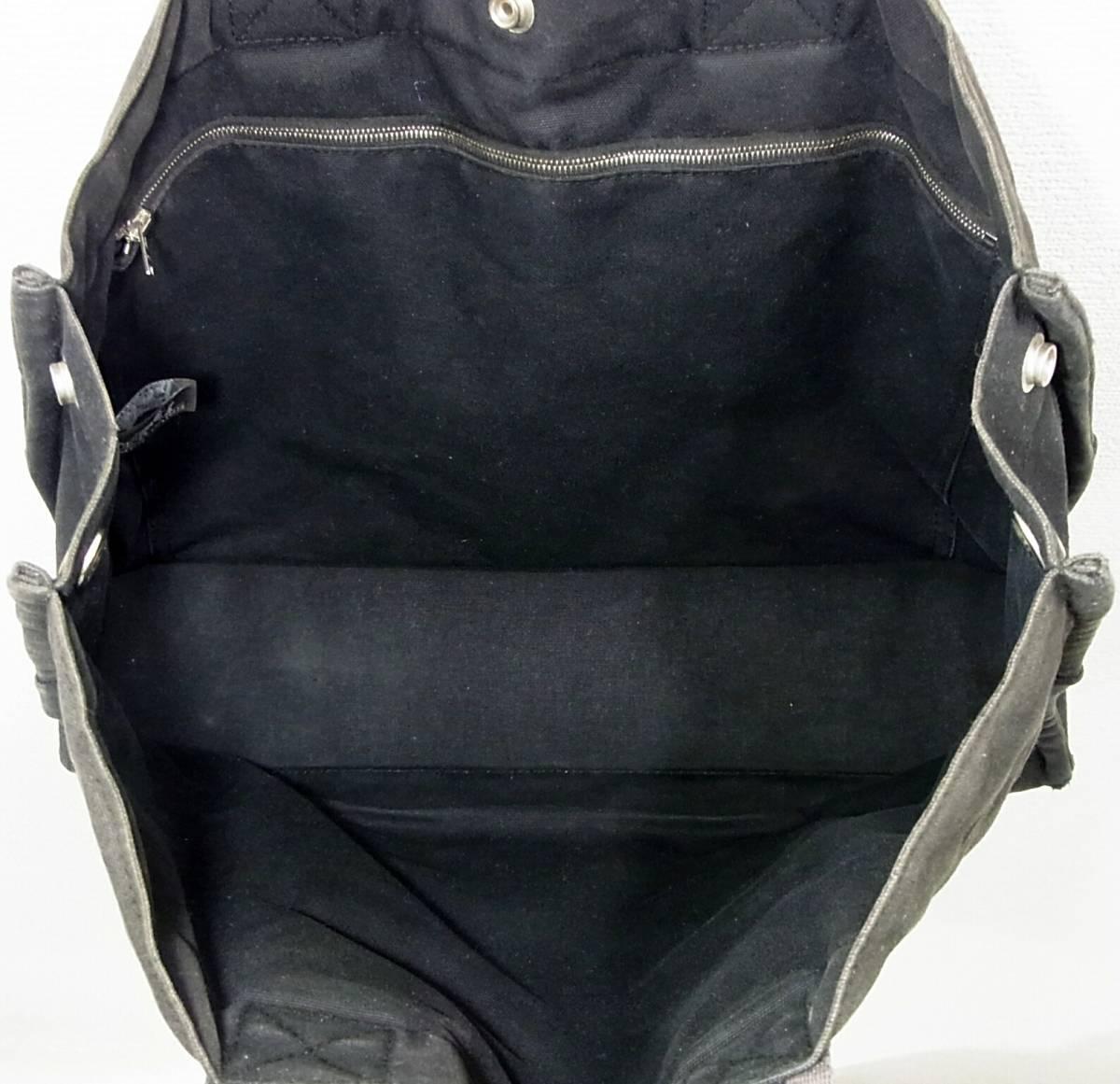 HERMES フールトゥMM 黒 キャンバストートバッグ ブラック×ダークグレー 2本ライン トートMM コットン手提げかばん ハンドバッグ エルメス_画像4