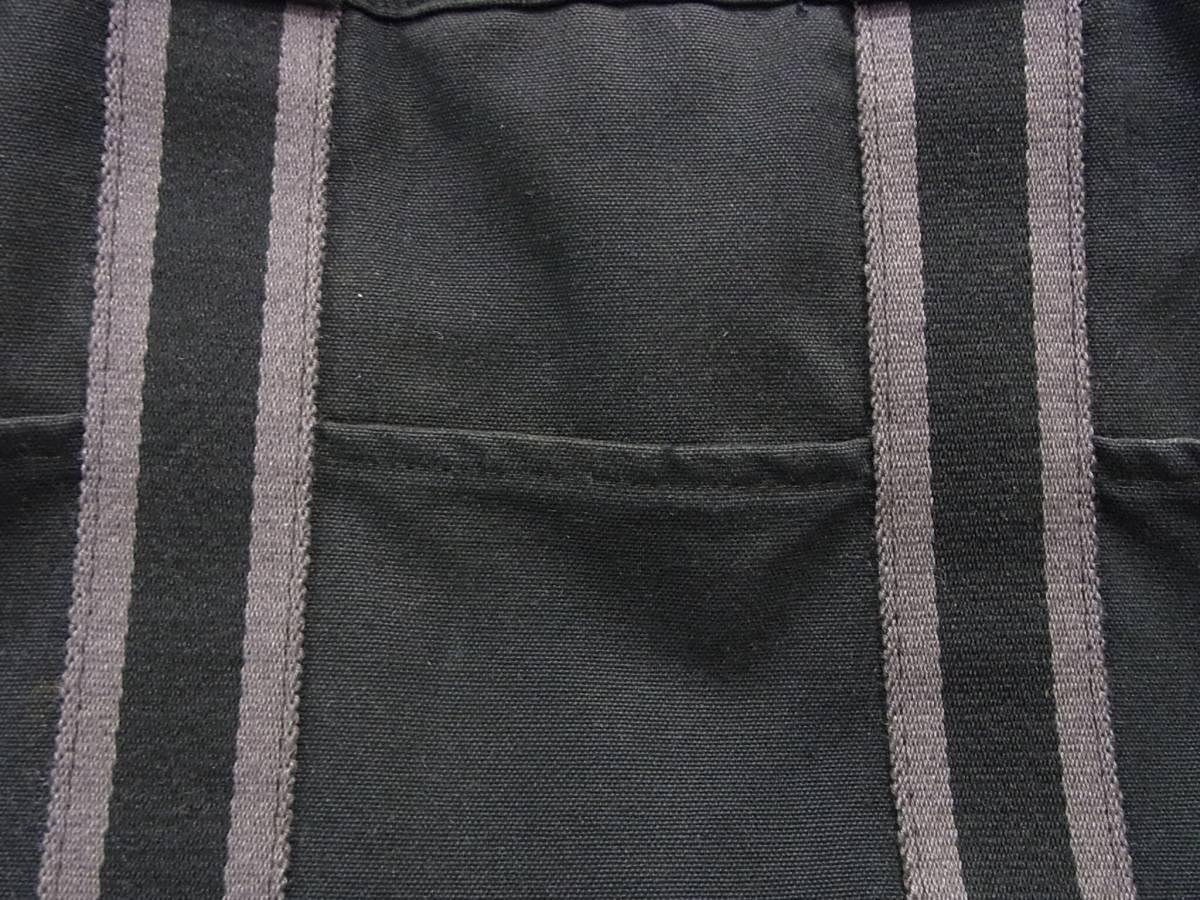 HERMES フールトゥMM 黒 キャンバストートバッグ ブラック×ダークグレー 2本ライン トートMM コットン手提げかばん ハンドバッグ エルメス_画像6