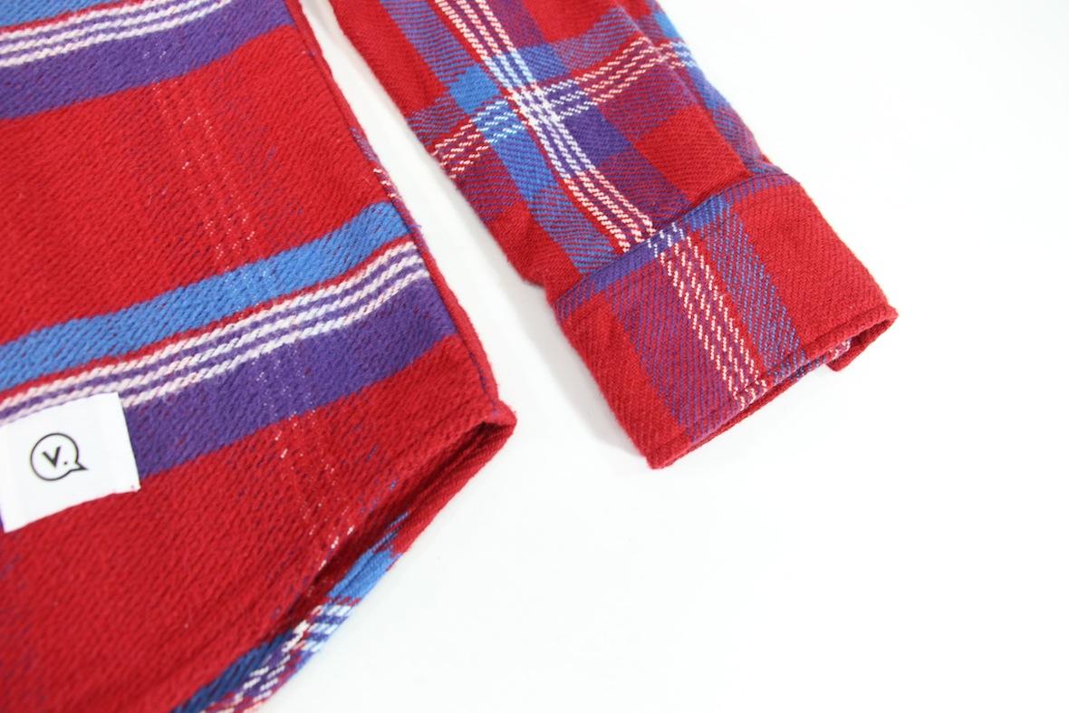 極美 VANQUISH チェック柄 長袖 ネルシャツ S レッド/ブルー 赤/青 バンキッシュ ヴァンキッシュ インディアン ワーク//fragment_画像6