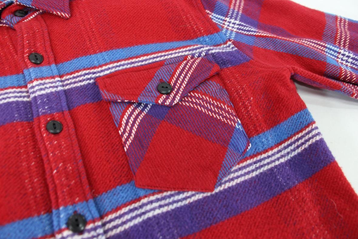 極美 VANQUISH チェック柄 長袖 ネルシャツ S レッド/ブルー 赤/青 バンキッシュ ヴァンキッシュ インディアン ワーク//fragment_画像8