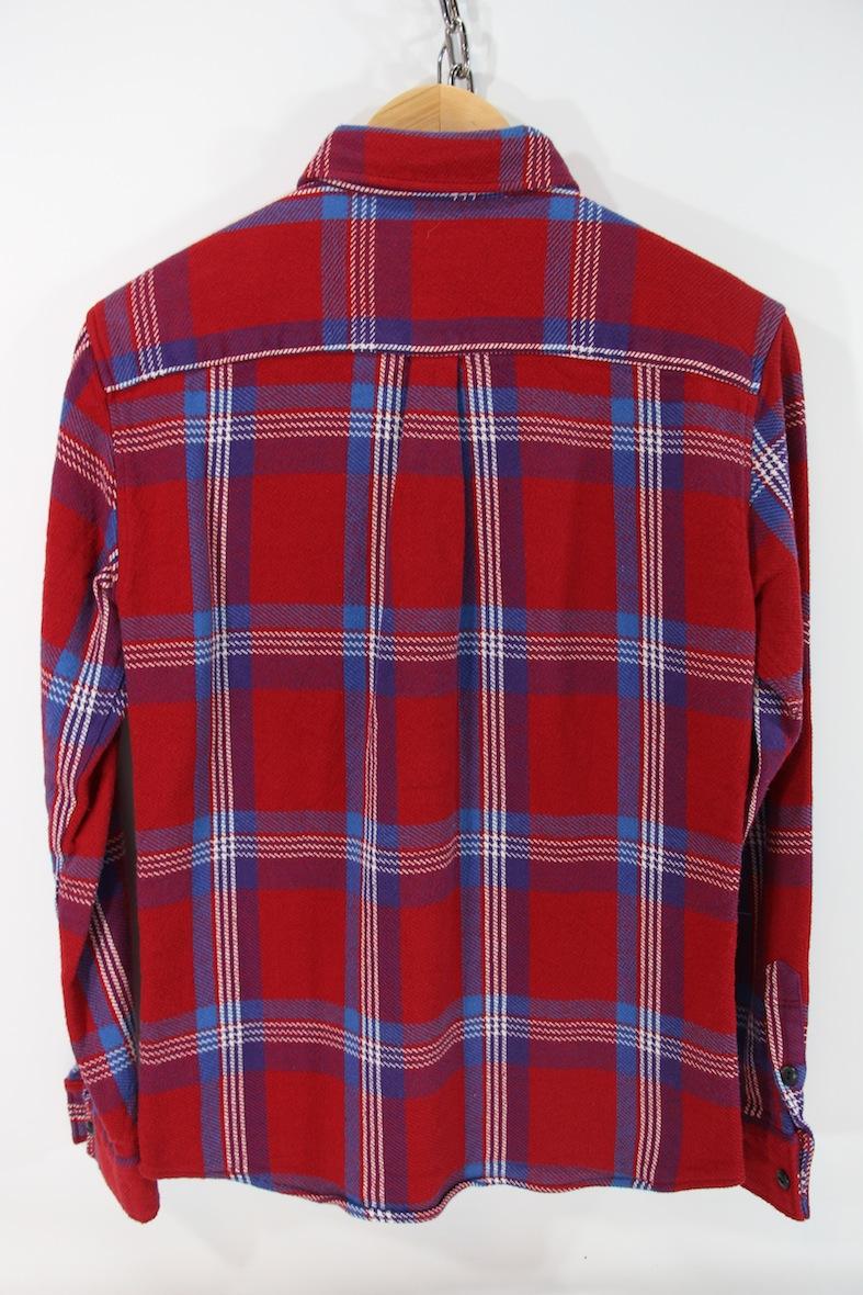極美 VANQUISH チェック柄 長袖 ネルシャツ S レッド/ブルー 赤/青 バンキッシュ ヴァンキッシュ インディアン ワーク//fragment_画像2
