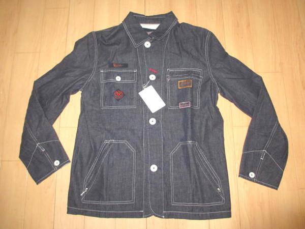 カールヘルム 豪華ラベルコレクションジャケット風デニムシャツ インディゴ紺 Mサイズ 新品
