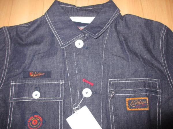 カールヘルム 豪華ラベルコレクションジャケット風デニムシャツ インディゴ紺 Mサイズ 新品_画像4