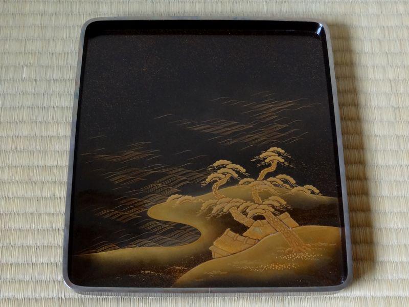 黒漆  梨子地  山水岩松図  本金高蒔絵硯箱  銀縁  合わせ箱付  江戸時代_画像7