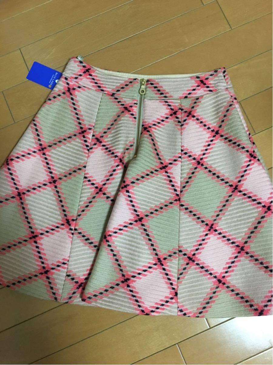 タグ付新品バーバリーブルーレーベルクレストブリッジチェックキュロットスカート36/毛ウール100%冬ブランド_画像4