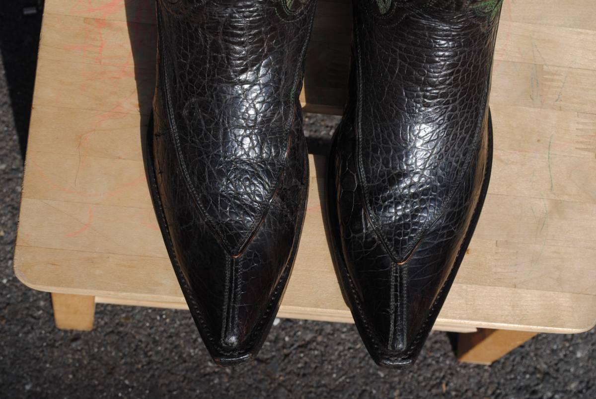 希少 1970年代 ヴィンテージ ウエスタンブーツ 特注品 三角モカシン形甲 10.5D_画像4