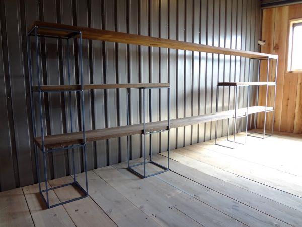 アイアンキューブフレーム 3段2個+2段2個set 本棚 飾り棚 壁面収納 みせる収納 ディスプレイ キャビネット カフェ風 インダストリアル_画像1