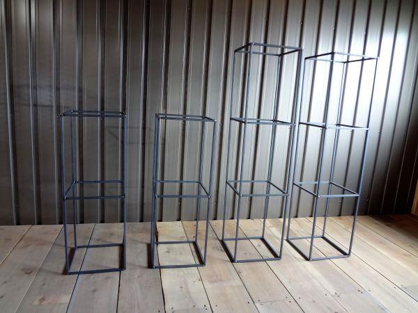 アイアンキューブフレーム 3段2個+2段2個set 本棚 飾り棚 壁面収納 みせる収納 ディスプレイ キャビネット カフェ風 インダストリアル_画像3
