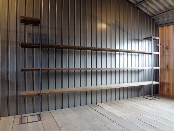 アイアンキューブフレーム 4段2個set アイアンシェルフ オープンラック お店のようなお洒落なインテリア システムラック 鉄脚 無垢材