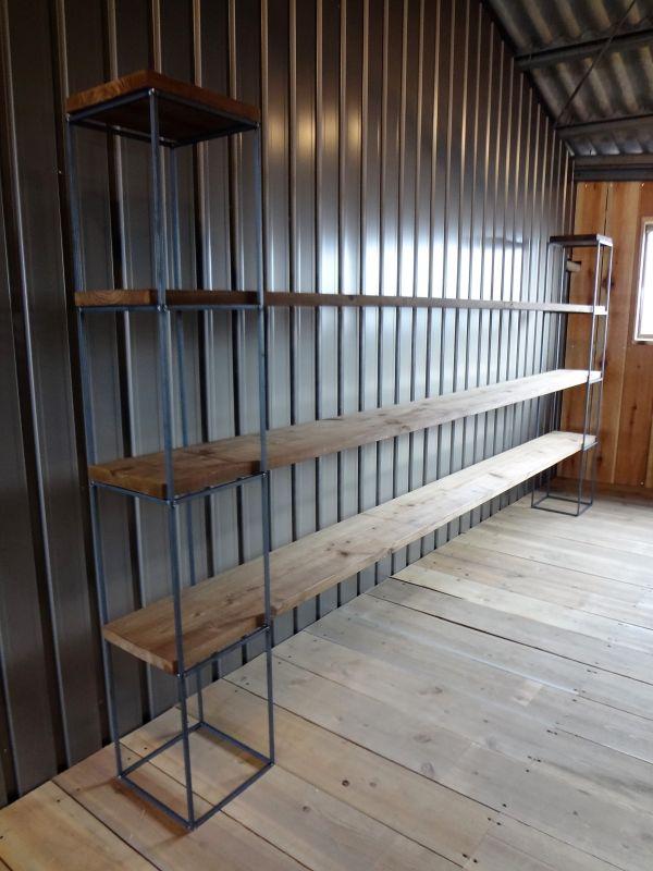 アイアンキューブフレーム 4段2個set アイアンシェルフ オープンラック お店のようなお洒落なインテリア システムラック 鉄脚 無垢材_画像2