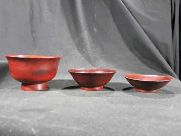 端反り根来三つ椀 桃山時代~江戸時代初期 漆器 _画像1