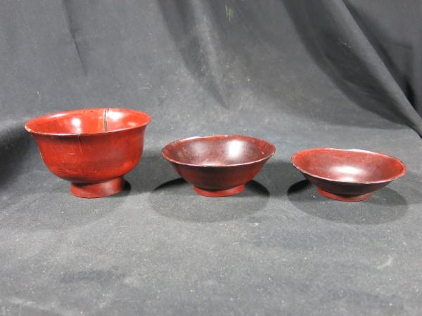 端反り根来三つ椀 桃山時代~江戸時代初期 漆器 _画像4