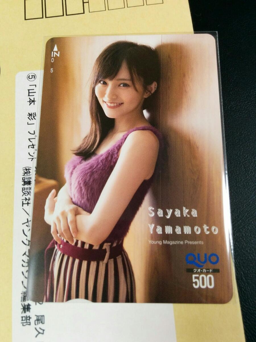 当選品! 山本彩 AKB48、NMB48 ヤングマガジン抽プレクオカード非売品 ライブ・総選挙グッズの画像