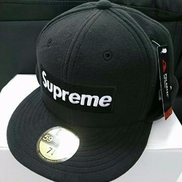 新品 17aw Supreme Polartec Ear Flap New Era 7 1/4 57.7cm black 黒 nas box tee camp cap 登坂 north face akira ニューエラ nuptse_画像2