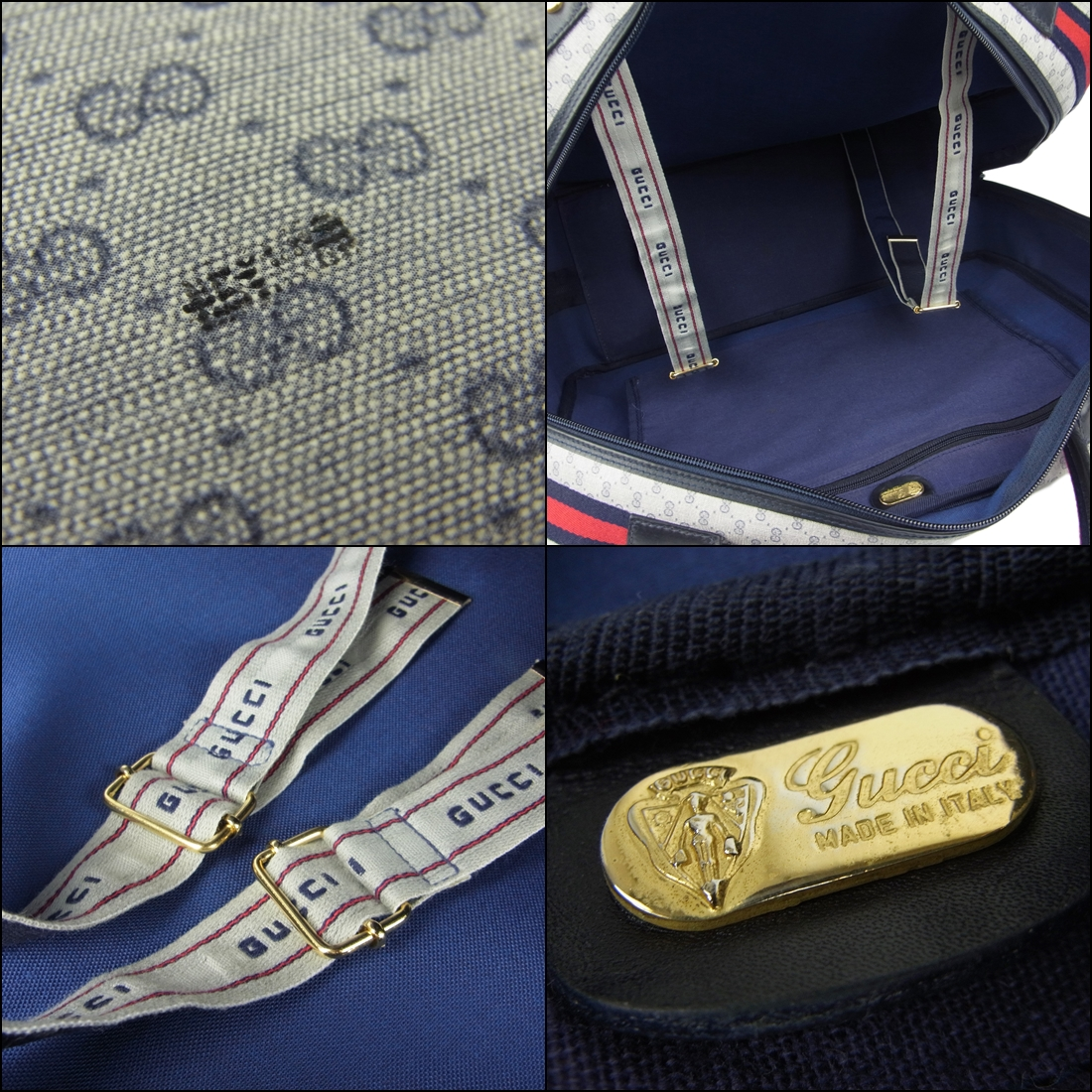 1円 オールド グッチ GUCCI ヴィンテージ 美品 マイクロGG シェリー PVC スーツケース トランク ハンドバッグ 旅行かばん_画像4