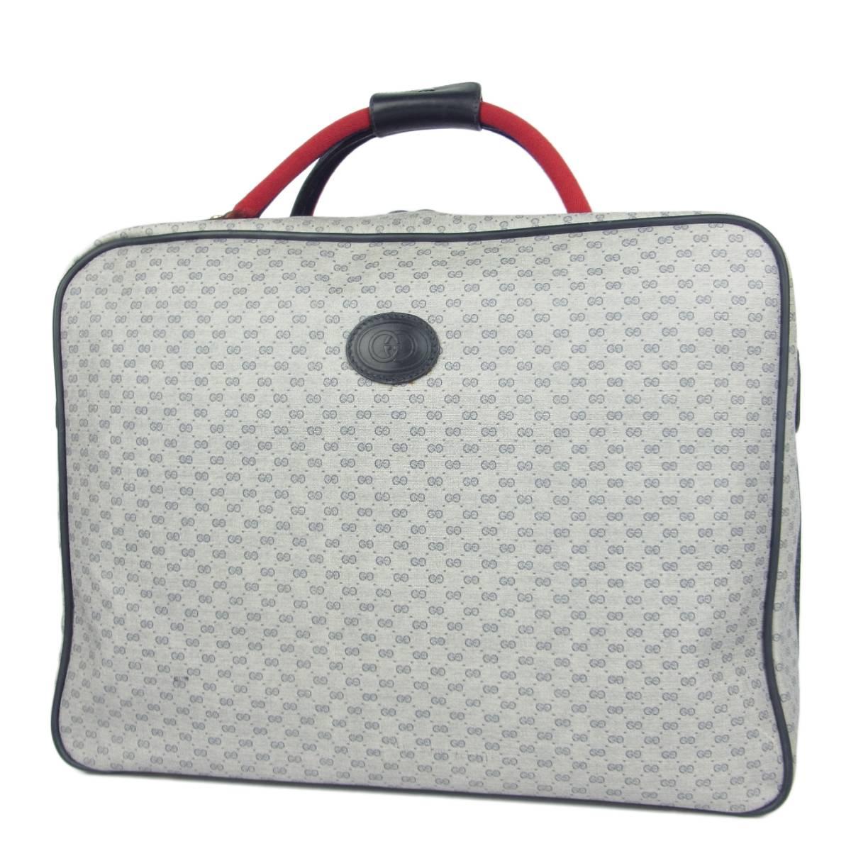 1円 オールド グッチ GUCCI ヴィンテージ 美品 マイクロGG シェリー PVC スーツケース トランク ハンドバッグ 旅行かばん
