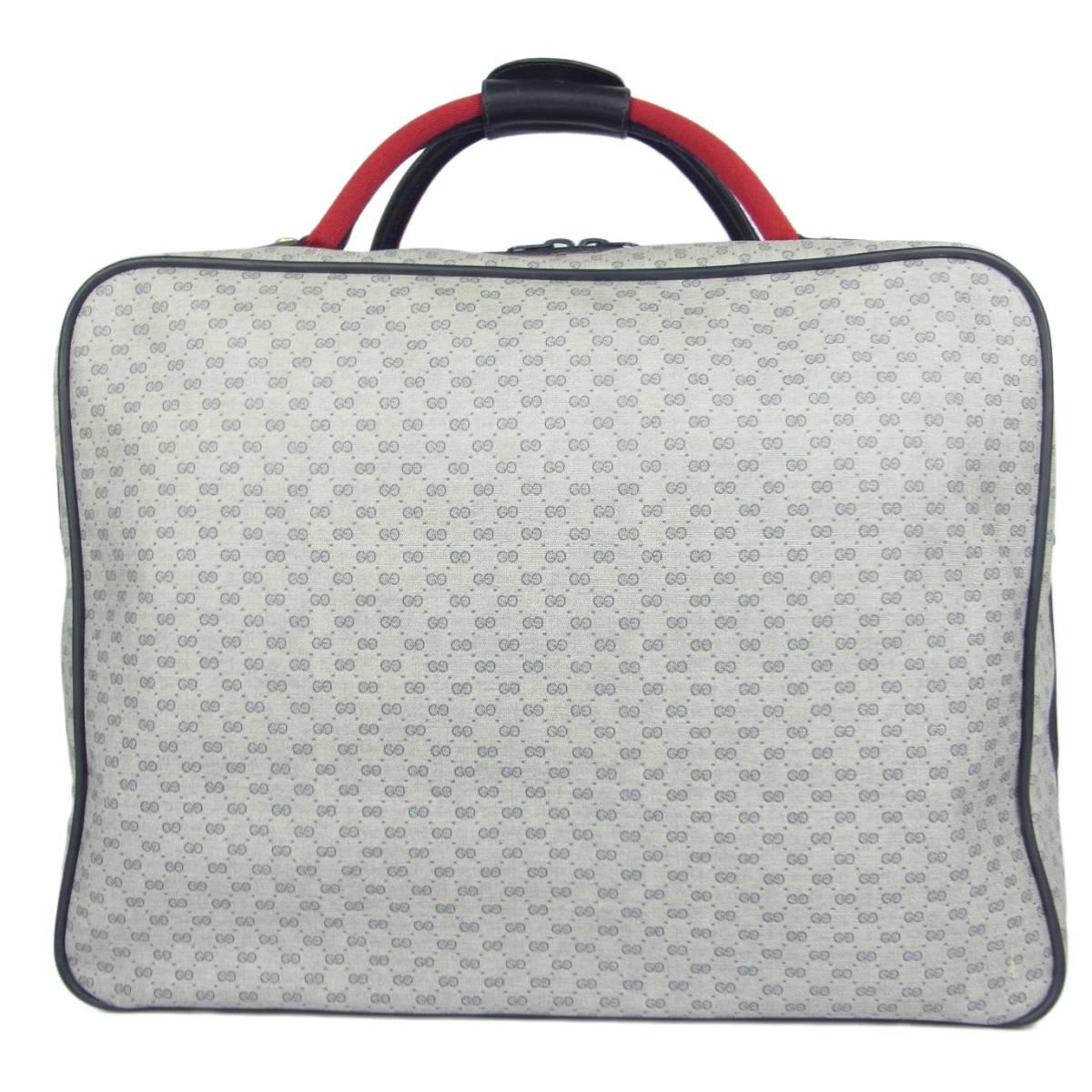 1円 オールド グッチ GUCCI ヴィンテージ 美品 マイクロGG シェリー PVC スーツケース トランク ハンドバッグ 旅行かばん_画像2