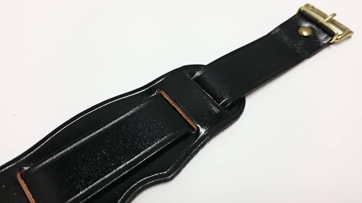 [18mm] ビンテージ コードバン アテ革 ミリタリー レザーベルト 黒 金色尾錠_画像4