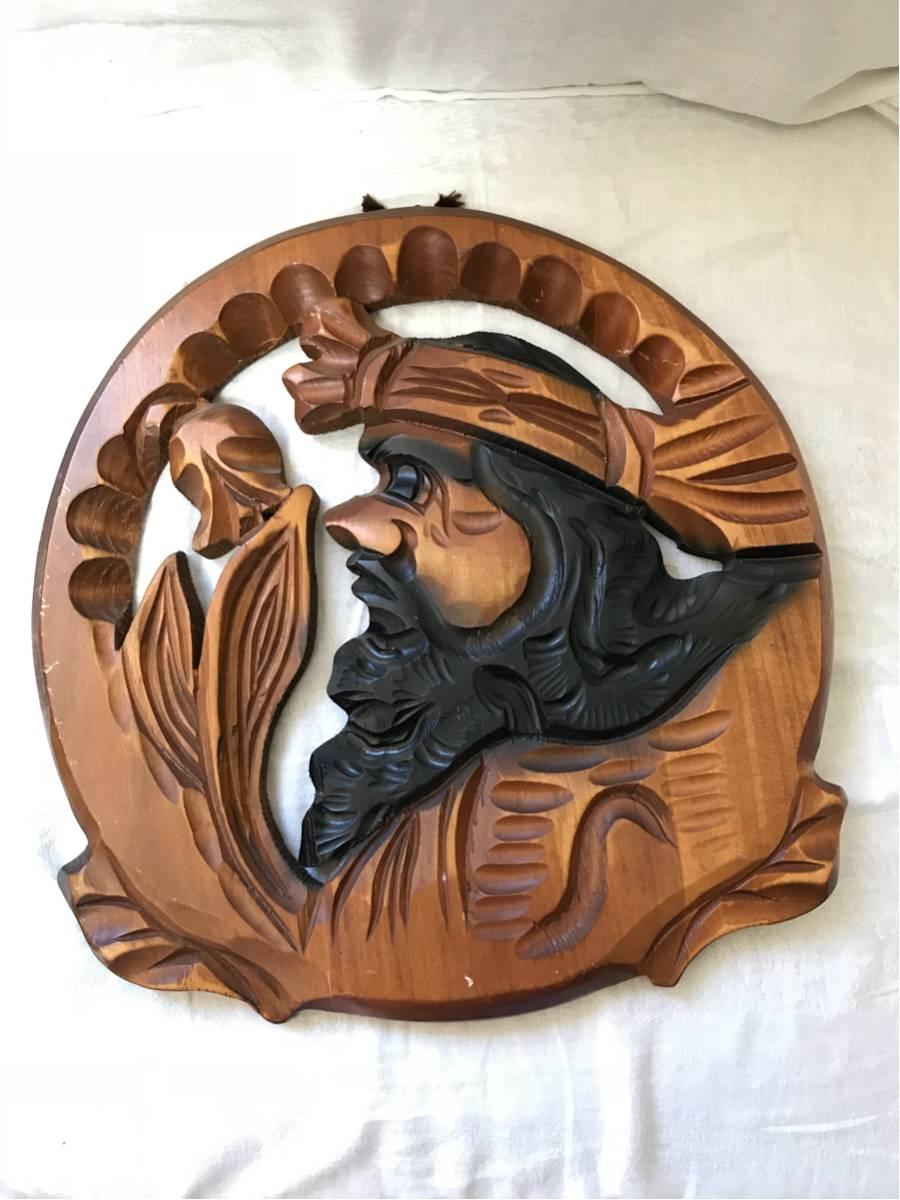 ◆即決アンティーク◆アイヌ 木彫り 壁掛け 民芸品◆2003_画像1
