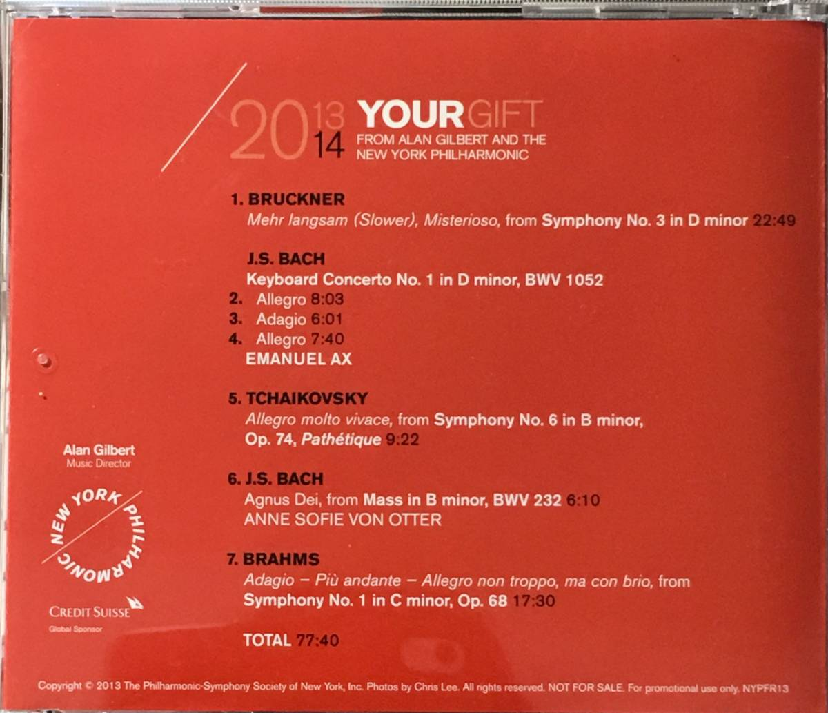 (Z0H)★レア盤/CREDIT SUISSE/2013-14 Your Gift from Alan Gilbert & The Newyork Philharmonic/Emanuel Ax/Anne Sofie von Otter★_画像4