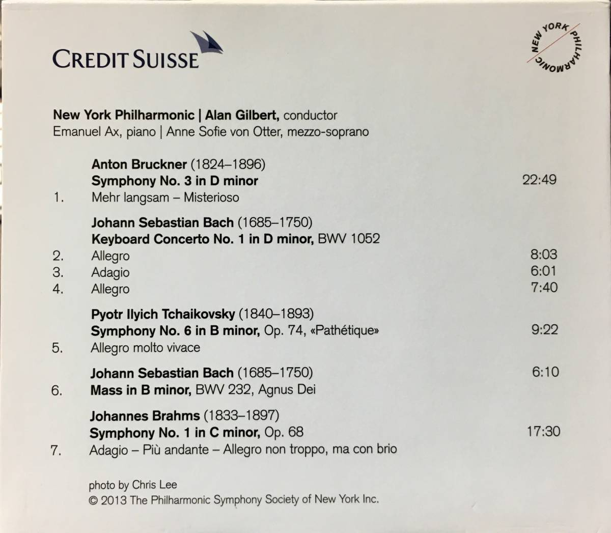 (Z0H)★レア盤/CREDIT SUISSE/2013-14 Your Gift from Alan Gilbert & The Newyork Philharmonic/Emanuel Ax/Anne Sofie von Otter★_画像2