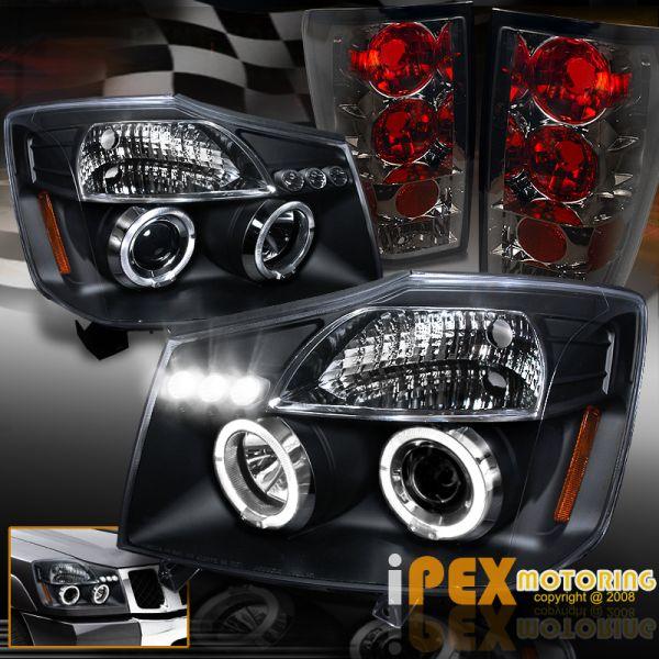 USヘッドライト 2004年?2014年Nissan Titan HaloプロジェクターLEDブラックヘッドライト+スモークテールライト