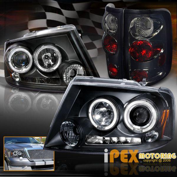 USヘッドライト 2004-2008 F150ブラックデュアルハロープロジェクターヘッドライトW / Smokeユーロテールライト