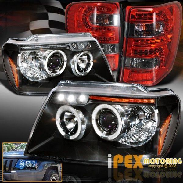 USヘッドライト 99-04ジープグランドチェロキーハロープロジェクターブラックヘッドライト+ LED煙テールライト